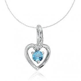 14k White Gold Blue Topaz/diamond Heart Necklace