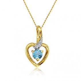 10k White Gold Blue Topaz/diamond Heart Necklace