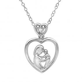 Diamond Heart Pendant-necklace In Sterling Silver