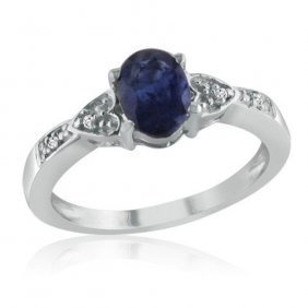 Sterling Silver 1.00 Ctw Sapphire And Diamond Ring