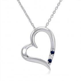 Sapphire/diamond Open Heart Necklace In Sterling Silver