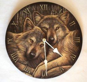 """Lisa Parker Wolves Clock 11"""""""