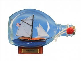 """Hand Made America Sailboat In A Bottle 7"""""""