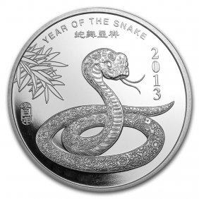 1 Oz Silver Round - (2013 Year Of The Snake)