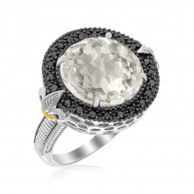 18k Yellow Gold & Sterling Silver Round Rock Crystal An