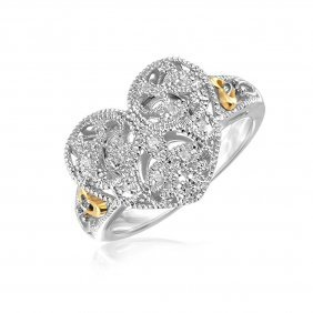Designer Sterling Silver And 14k Yellow Gold Filigree H