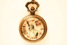 Lady Liberty Design Open Face Pocketwatch