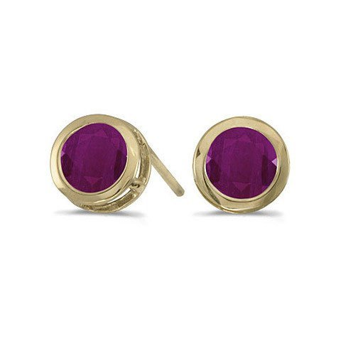 14K Yellow Gold 1.20 CTW Ruby Bezel Stud Earrings