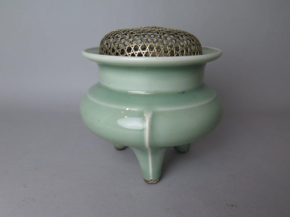 Chinese Celadon-Glazed Porcelain Tripod Censer