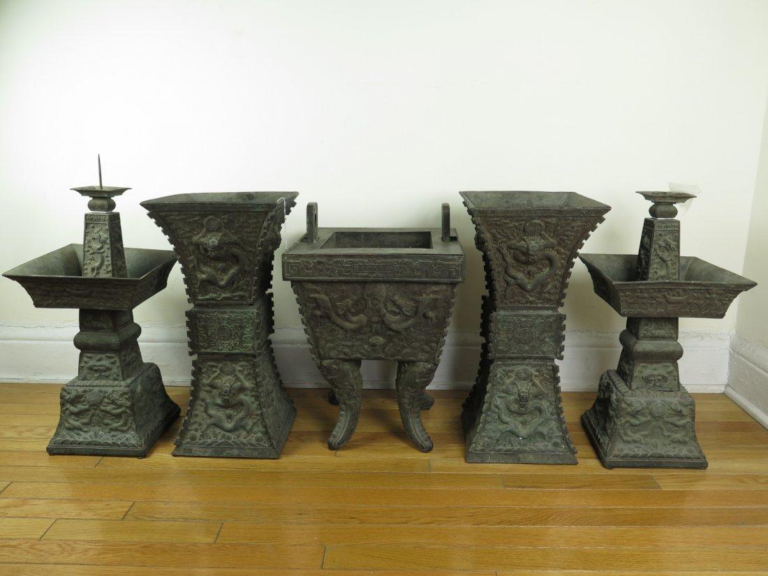An Imperial bronze five-piece altar garniture,sotheby's