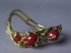 Natura OX Red Coral &14K  Yellow Gold Bracelets