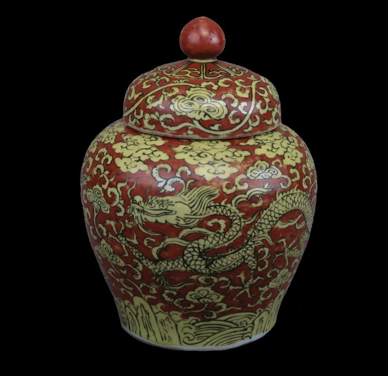 A Chinese Red Ground Gilt-Decorated Cloud And Dragon