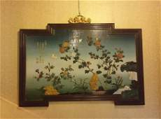 Chinese Wall Screen With Zitan Frame