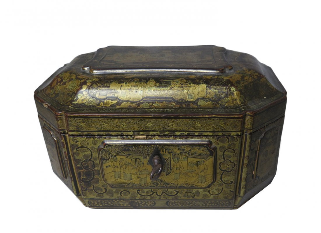 Antique Chinese Gilt Lacquer Tea Caddy