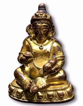 "Chinese Gilt Bronze Figure Of ""caishen"""