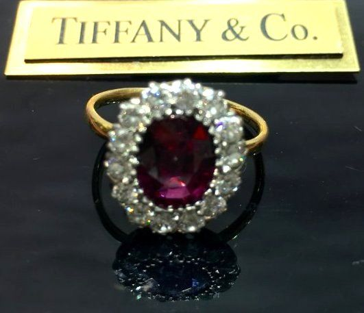 Vintage Tiffany & Co.18k Ruby 2ct Diamond Ring