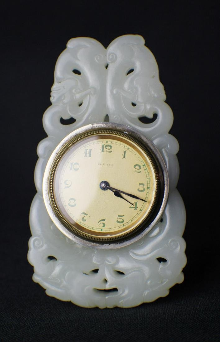 A Clock Decorated with White Jade Carved in Dragon