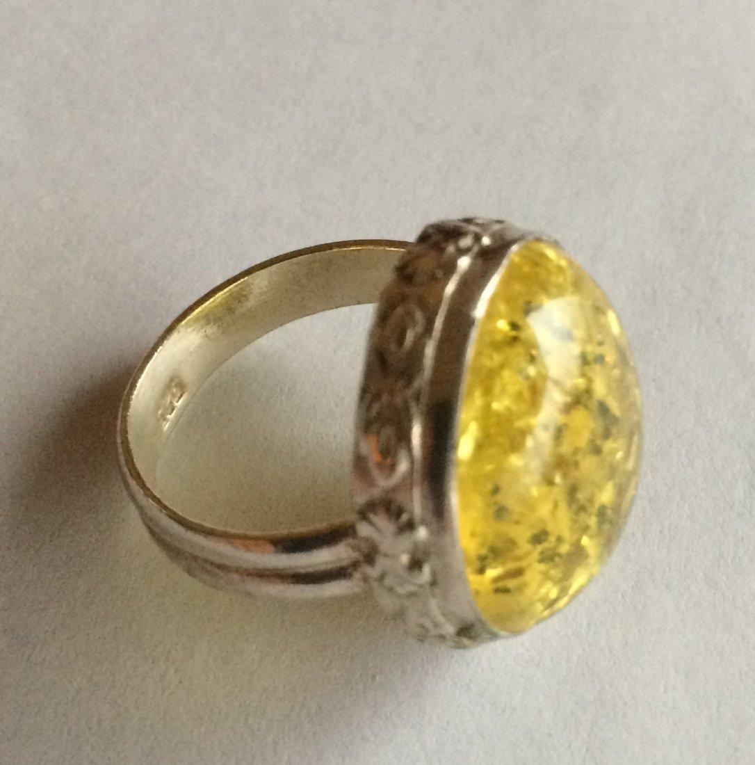 """A Lemon Amber Silver Ring, 3/4 x 3/4"""" - 3"""