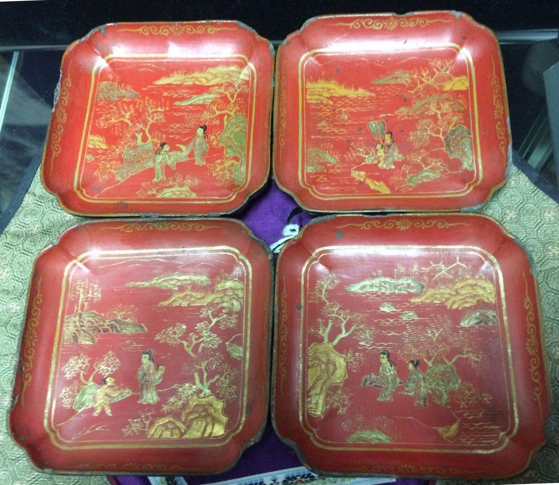 A Set of Four Lacquer Gild-coral Tea-plates in Landscap