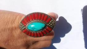 ANTIQUE Coral Turquoise Ring