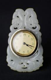 He Tian Suet Jade Clock with Handcarved Openwork from