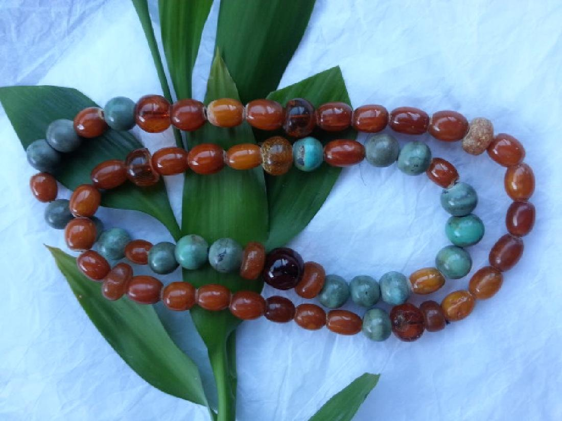 BUTTERSCOTCH AMBER Turquoise NECKLACE 46.6g