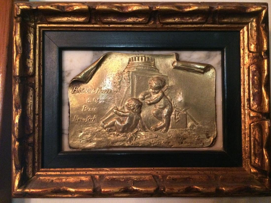 A Bronze Picture of Two Boys on Marble-board, BWxL: 5