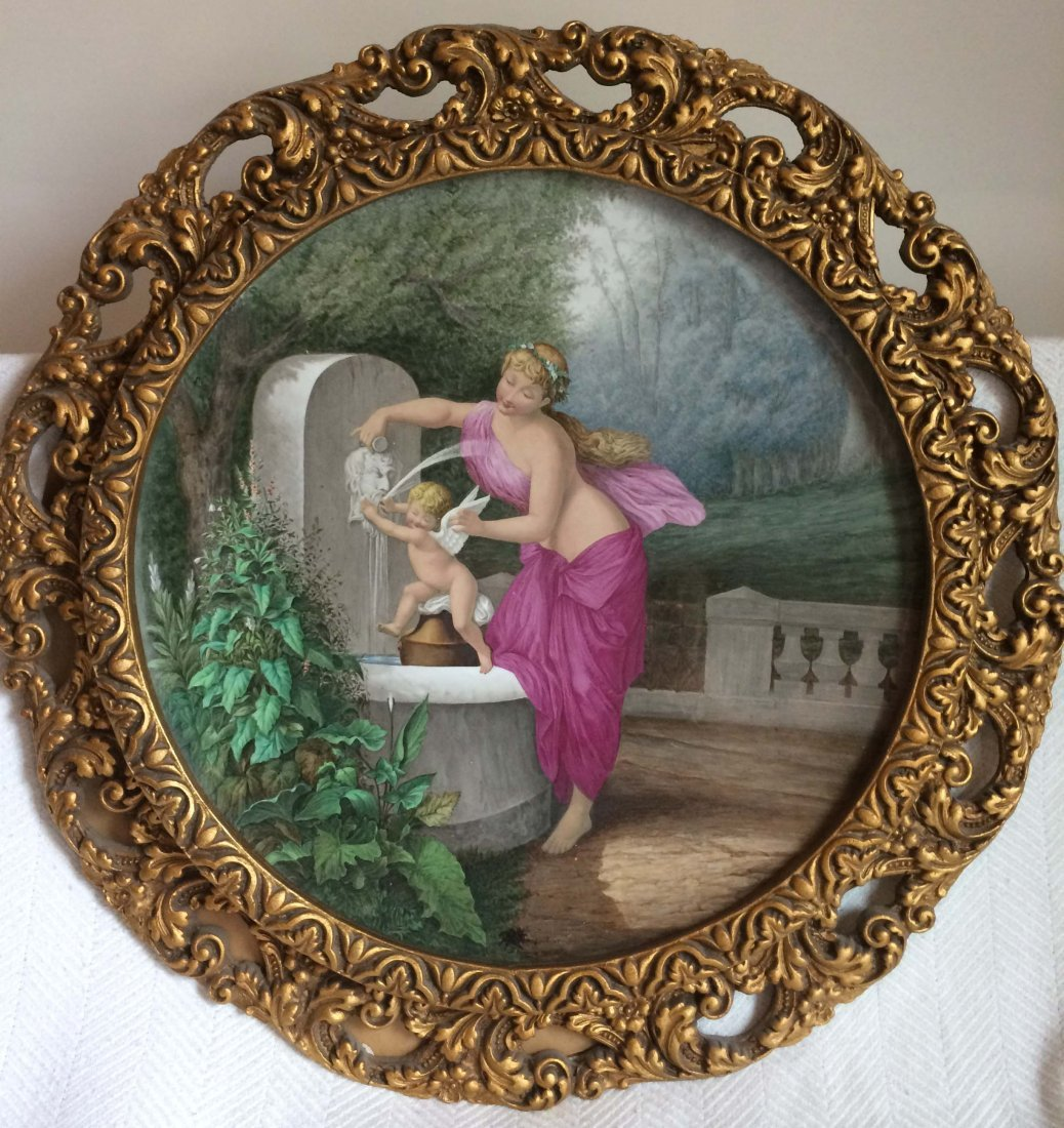 A Porcelain Plate Enamel Picture of a Lady and Baby,
