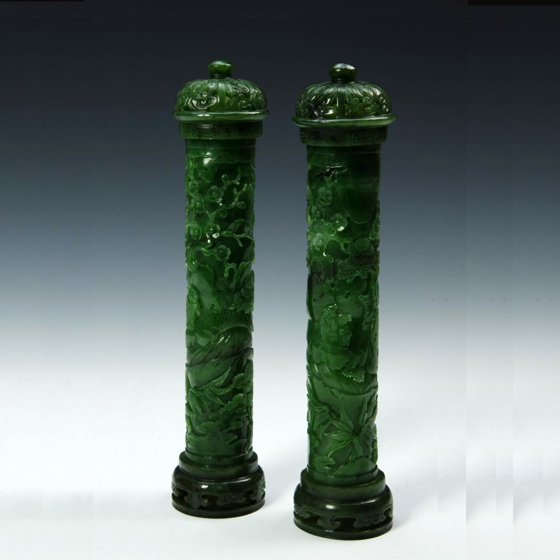 A Pair of Qing D. Chinese green jade censer