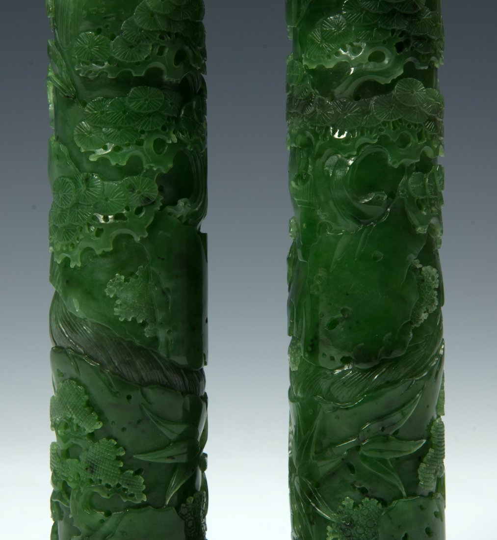 A Pair of Qing D. Chinese green jade censer - 4