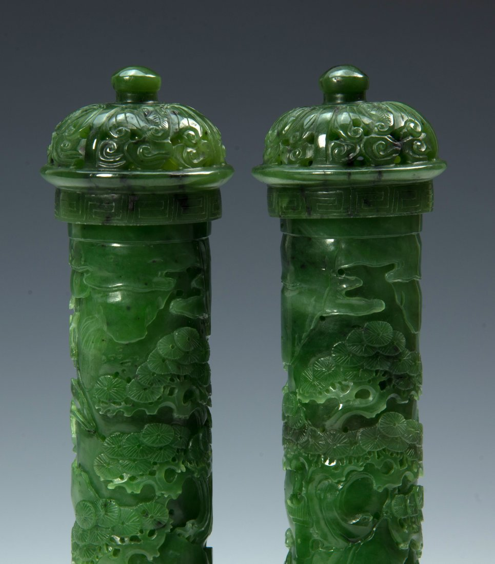 A Pair of Qing D. Chinese green jade censer - 5
