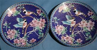 A Pair of Cloisonne Plates in Flower & Bird Pattern