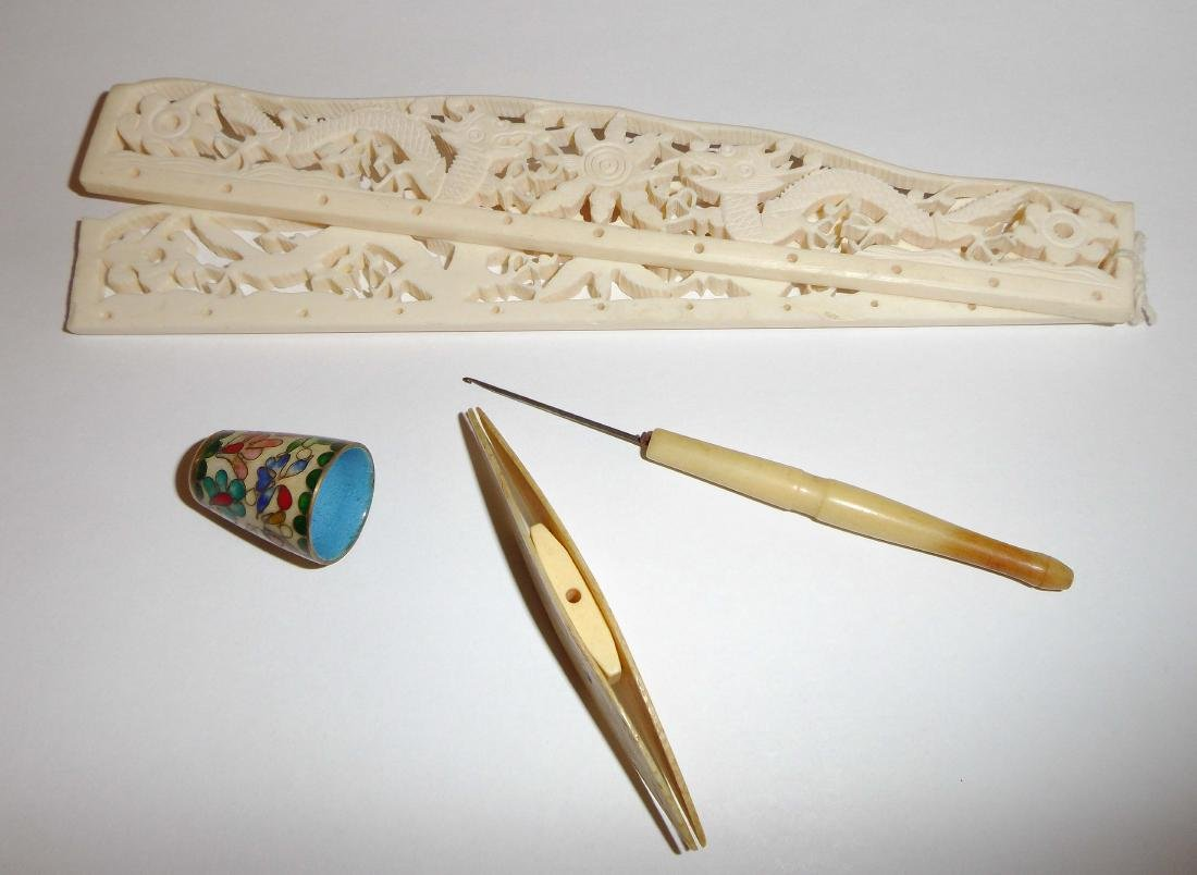 A set of Bone-made Waving Tools and Cloisonne
