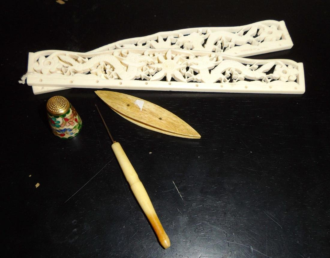 A set of Bone-made Waving Tools and Cloisonne - 2