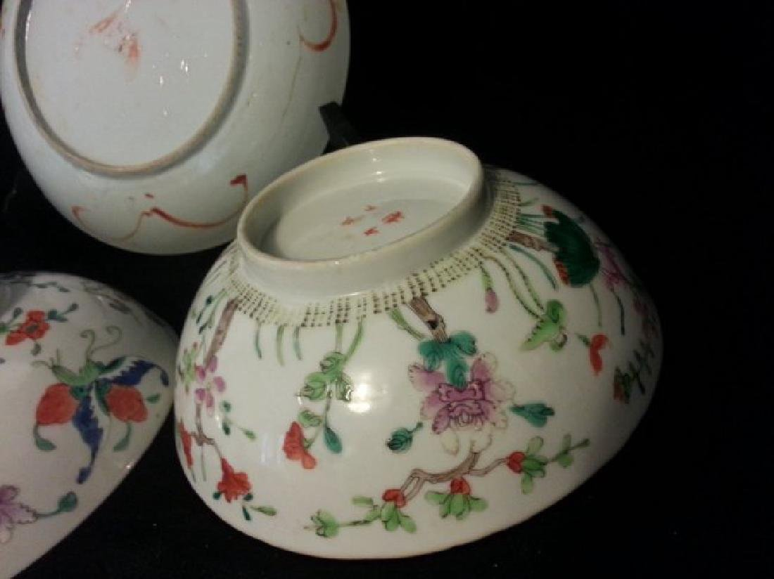 4 Antique Chinese Famille Rose Porcelain Bowl - 7
