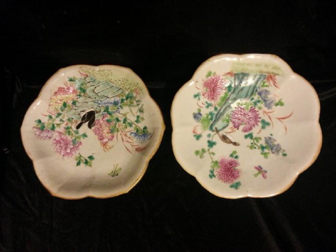 2 Chinese Famille Rose enameled porcelain Bow