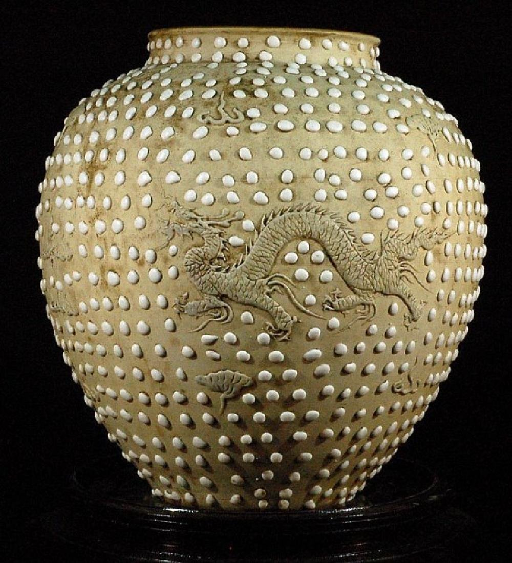Porcelain Jar with White Glazed Dots