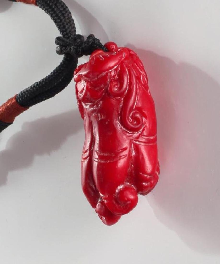 Chinese Coral Pendant Necklace