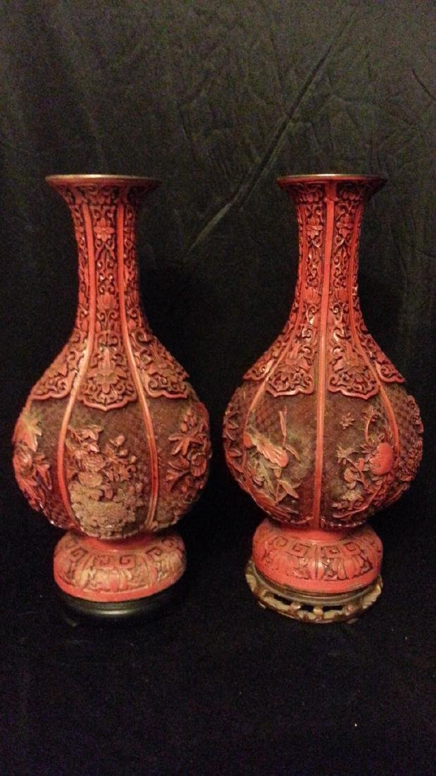 OLD Chinese carved cinnabar lacquered items Vase