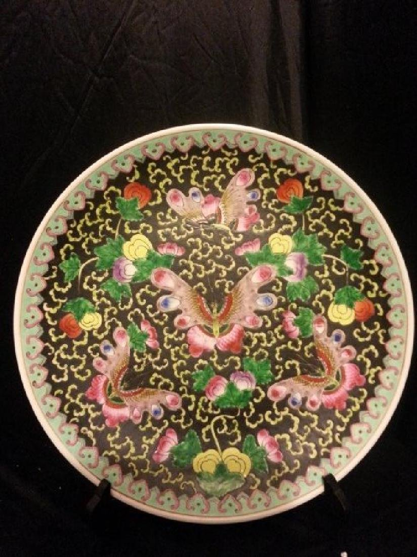 19th Century Chinese Export Rose Medallion VASE PLATE