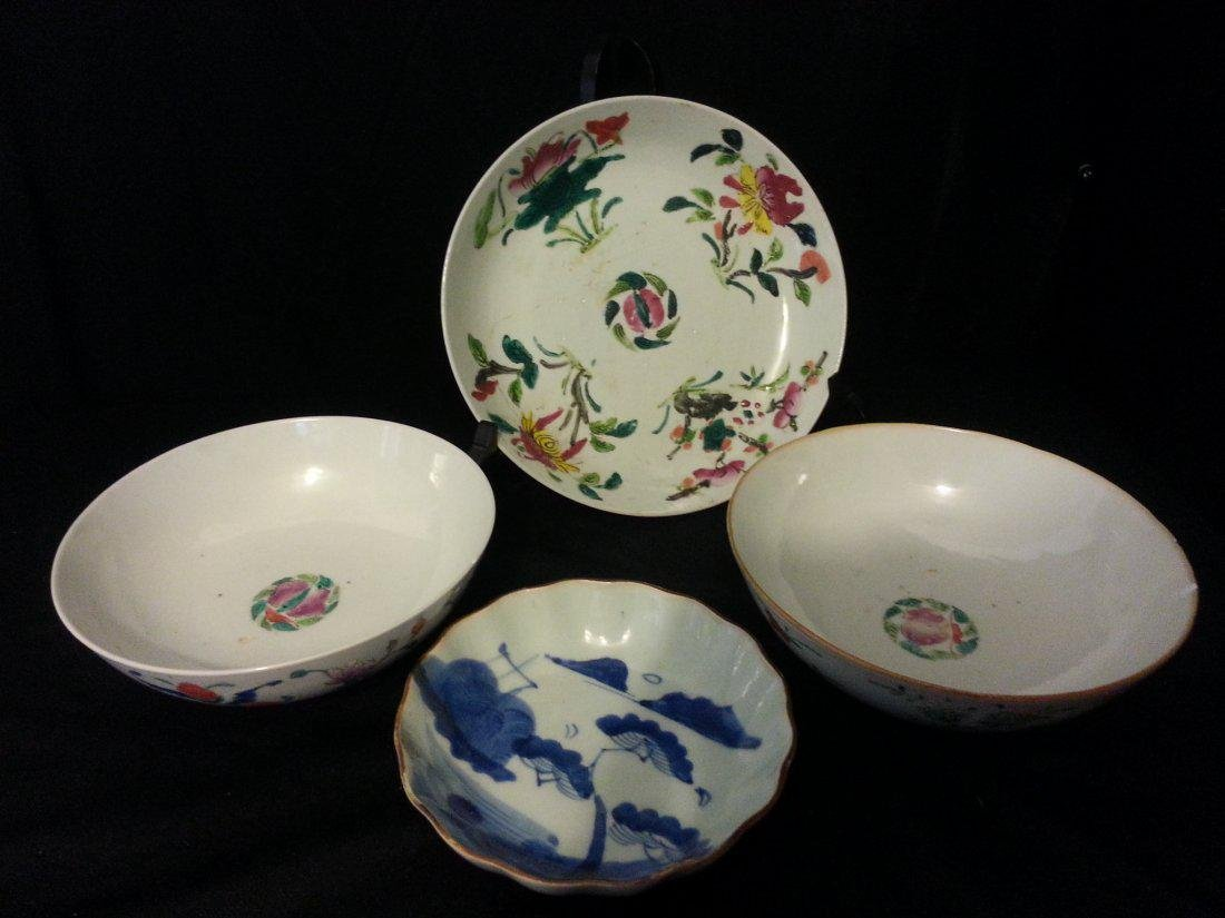 4 Antique Chinese Famille Rose Porcelain Bowl