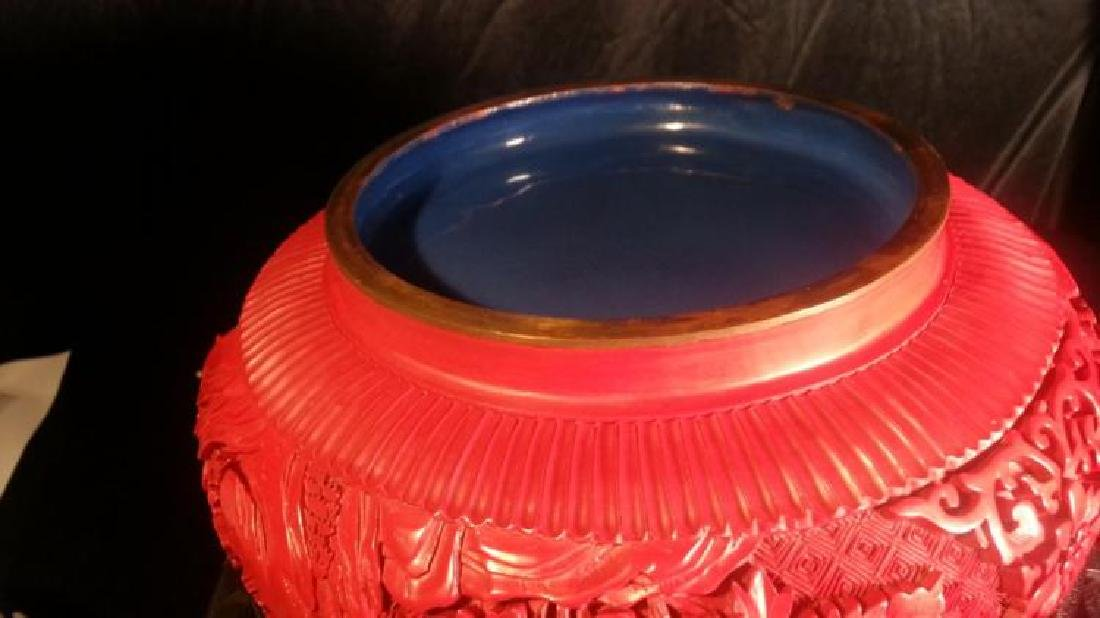 Chinese carved cinnabar lacquered - 4