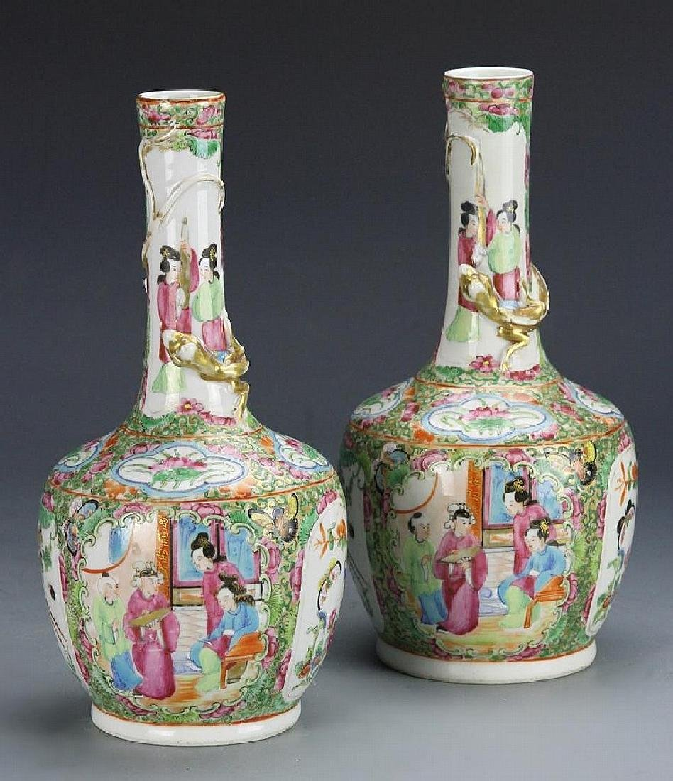 """China  a pair of Rose Medallion vases"
