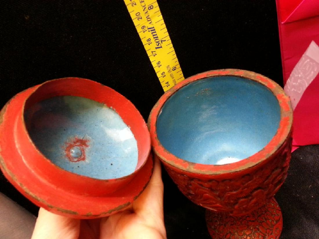 Ming carved cinnabar lacquered Cup - 3