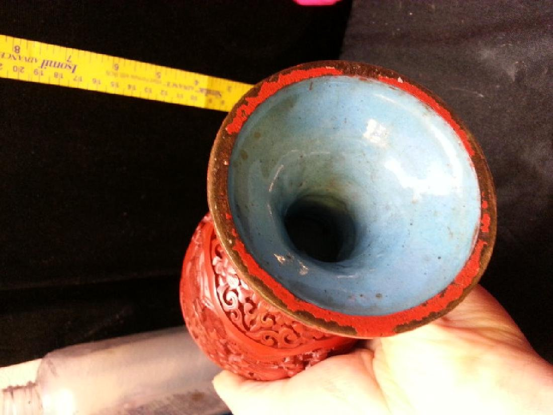Ming carved cinnabar lacquered Cup - 5