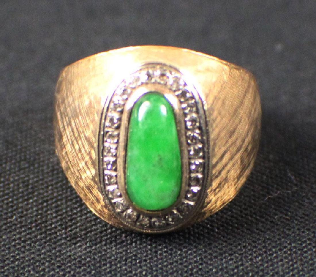 A Natural Bright-green Jadeite Ring with Diamend