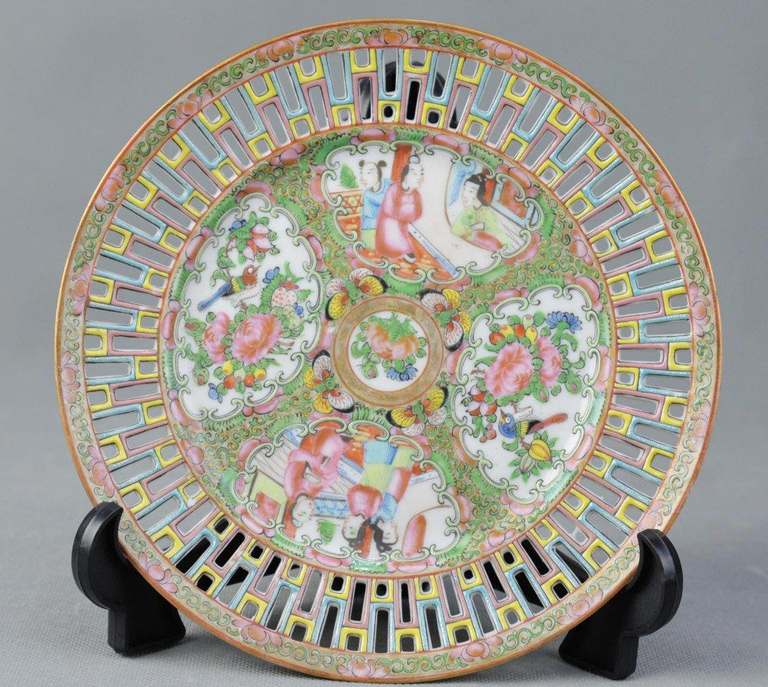 An Openwork Carved Export Famille Rose Plate, Qing