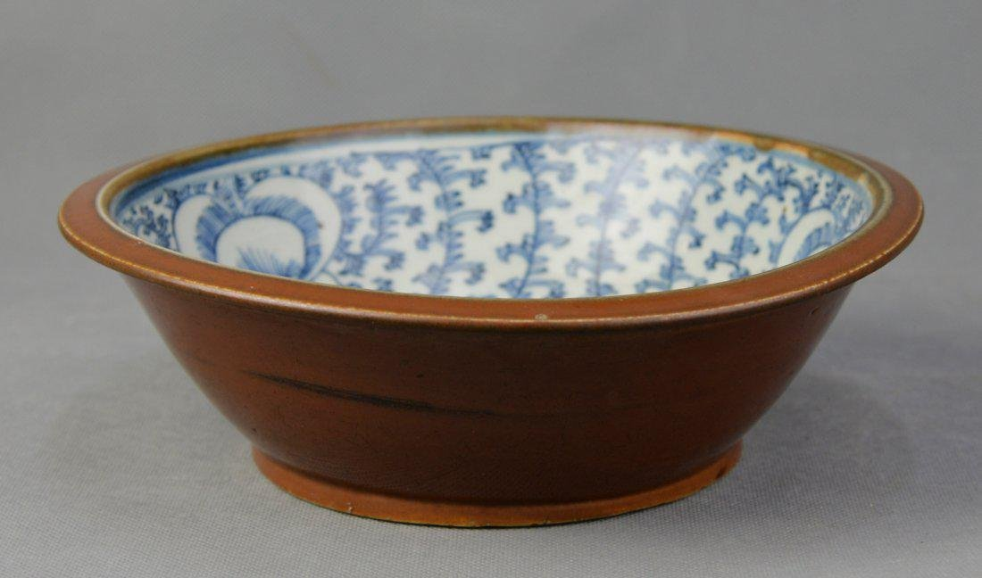 A W & B Brown Glazed Soup Bowl, Qing Dynasty