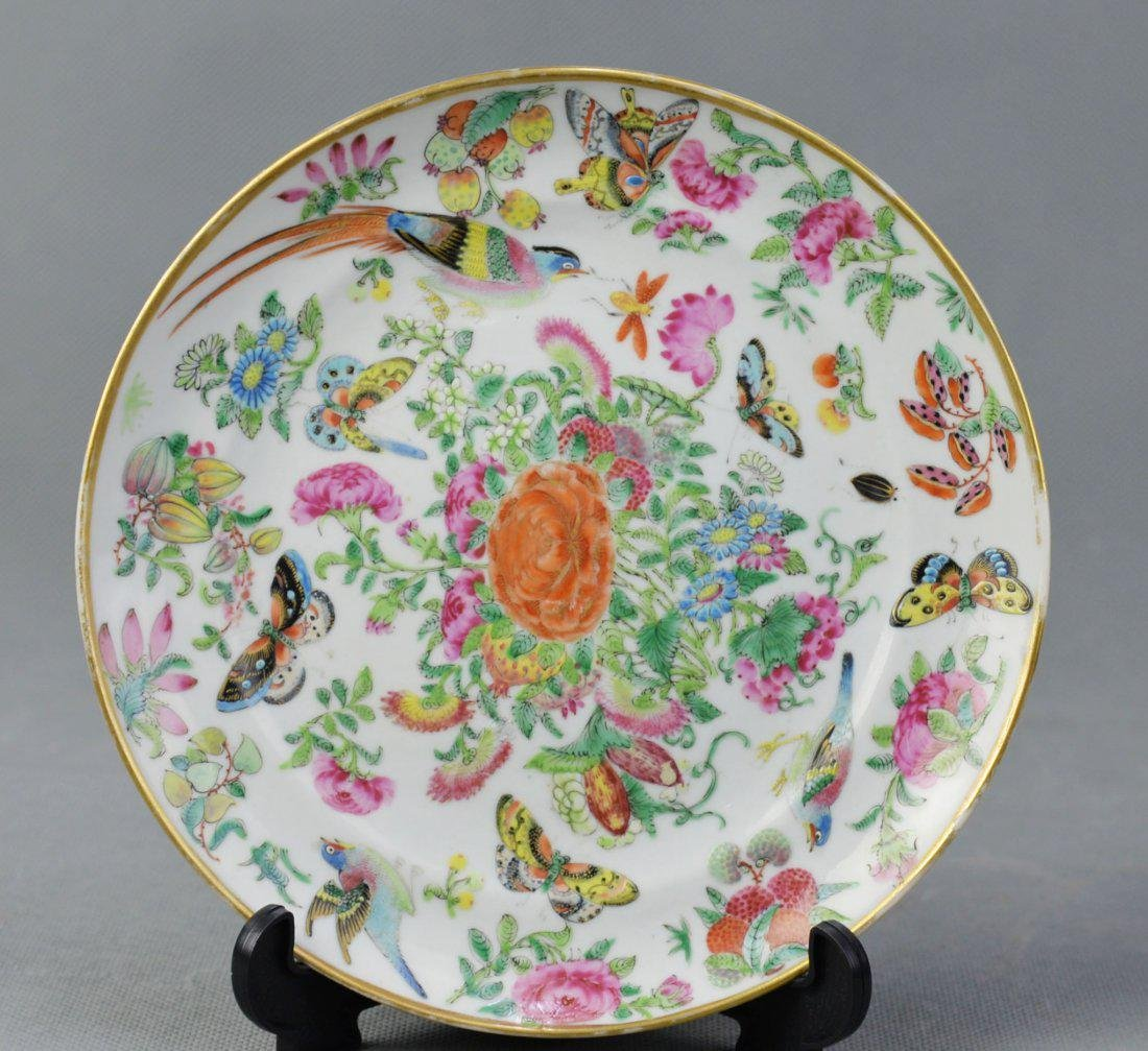 A Export Famille Rose Plate of Birds & Flowers Pattern,