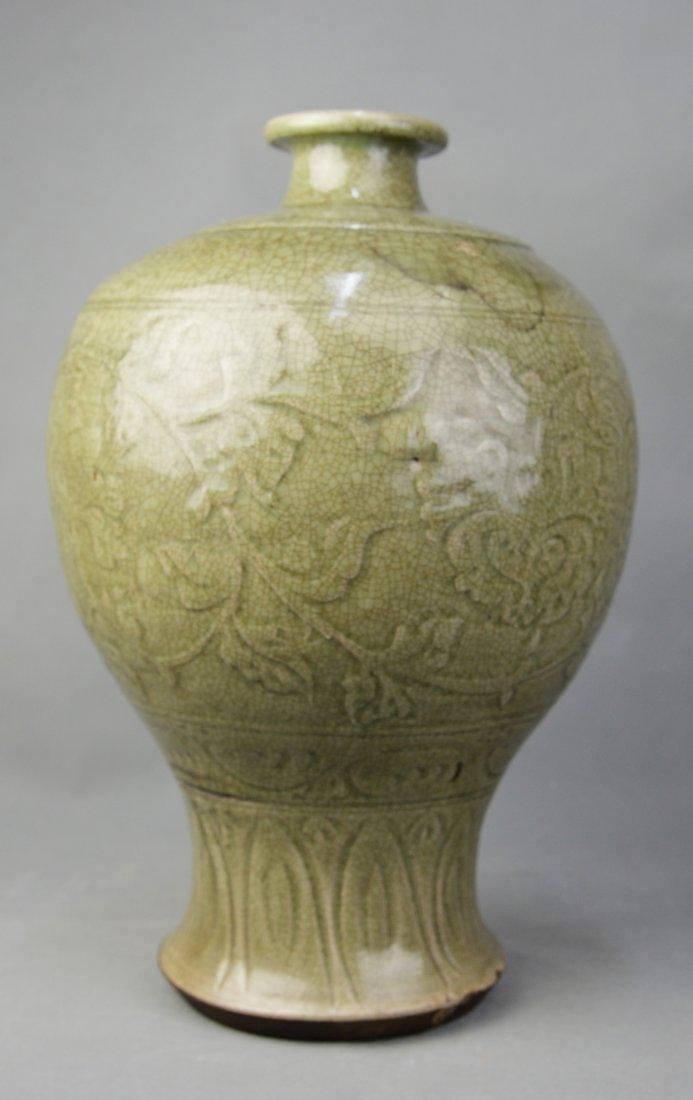 A Long Quan Yao Vase in Engraved Flowers, Ming Dynasty